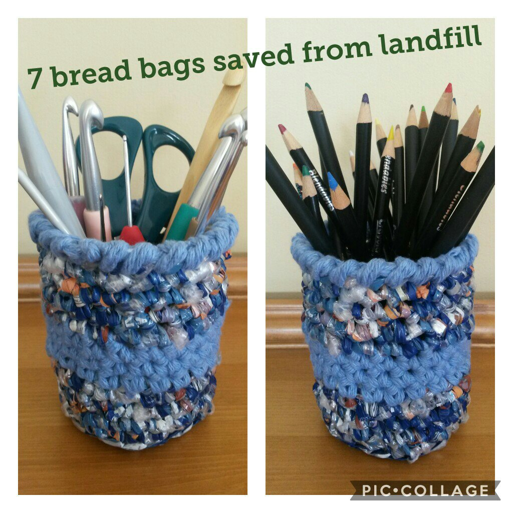 Recycled Plarn basket by Mini Me Makes