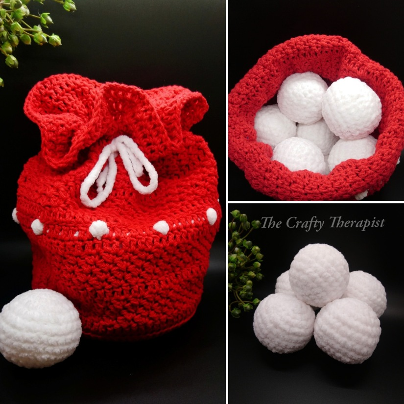 Snowball Fight in a bag crochet pattern by The Crafty Therapist