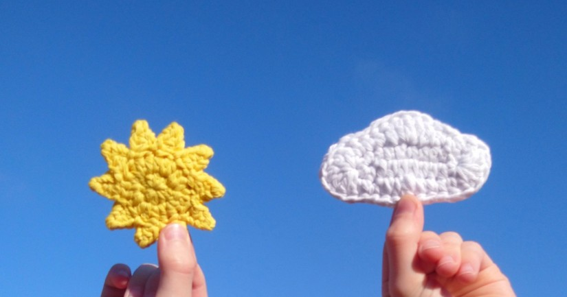 Sun and cloud crochet applique