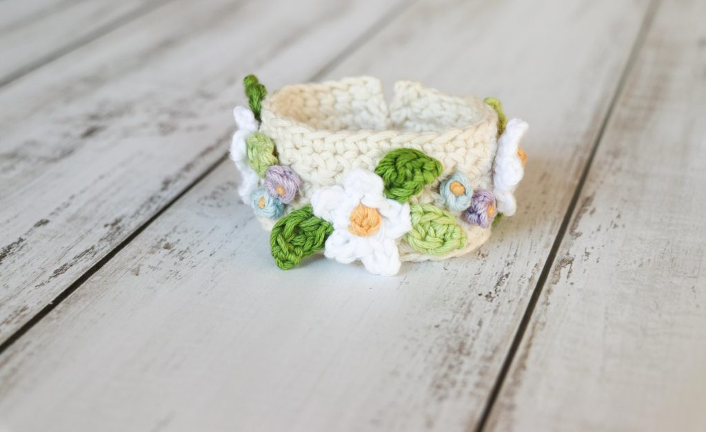 Boho Summer Flower Bracelet by Thoresby Cottage - part of a Spring Floral crochet pattern round-up by The Crafty Therapist